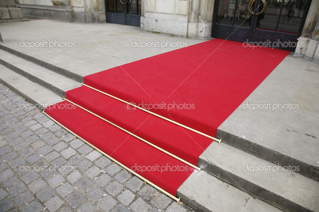 Red carpet in front af the The Danish Royal Theatre in Copenhagen  Stock Photo #6574327