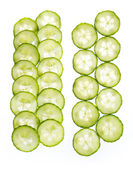 Slices of cucumber isolated on white background — Stock Photo