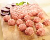 Minced ham. Arrangement on a cutting board. — Stock Photo