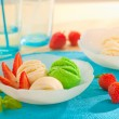 Stock Photo: Ice cream with fresh mint and strawberries