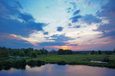 Twilight landscape. Flood waters of Narew river, Poland. — Stockfoto