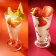 Set of two dairy desserts with strawberry and peach. Yoghurt, pu — Stock Photo