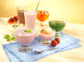 Group of dairy and fruit desserts — Stock Photo