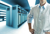 Server room with operating stuff — Stock Photo