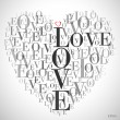 "A heart made of words ""LOVE"" — Stock Vector"