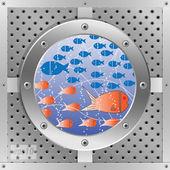 Submarine in the blue sea — Stock Vector