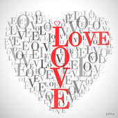 """A heart made of words """"LOVE"""" — Stock Vector"""