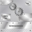 Stock Vector: Metal plate and gears vector