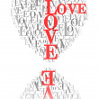 A heart made of words &quot;LOVE&quot; and reflected - 