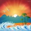 Stock Vector: Summer holiday beach background vector