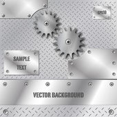 Metal plate and gears vector — Stock Vector