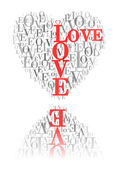 """A heart made of words """"LOVE"""" and reflected — Stock Vector"""