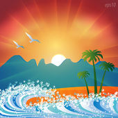 Summer holiday beach background vector — Vettoriale Stock