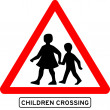 Stock Vector: Children crossing school warning sign