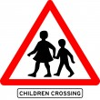 Children crossing school warning sign - Stock Vector