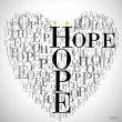 "A heart made of words ""HOPE"" - Imagen vectorial"
