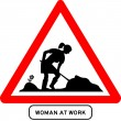 Woman at work traffic sign — Stock Vector