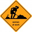 Stock Vector: Womat work traffic sign