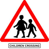 Children crossing school warning sign — Stock Vector