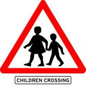 Children crossing school warning sign — Stock Vector