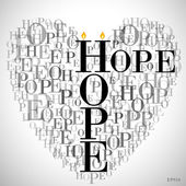 """A heart made of words """"HOPE"""" — Stock Vector"""