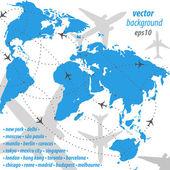 World map flight travel illustration — Stock Vector