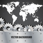 Metal plate and gears world map vector — Stock Vector