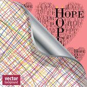 """Pod turnback hearts vyrobené ze slov """"naděje"""" — Stock vektor"""