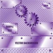 Purple metal plate and gears vector — Stock Vector