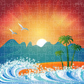Summer holiday beach background vector puzzle jigsaw — Stok Vektör