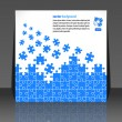 Puzzle pieces vector design flyer design - Stock Vector