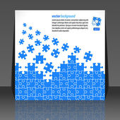 Puzzle pieces vector design flyer design — Stock Vector