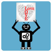 "Modern robot with heart made of words ""LOVE"" — Stock Vector"