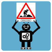 "Modern robot with traffic sign ""woman at work"" — Stok Vektör"