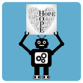 "Modern robot with a hearts made of words ""HOPE"" — Stock Vector"