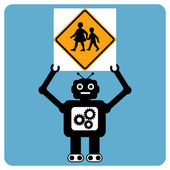 "Modern robot with traffic sign ""children crossing"" — Stock Vector"