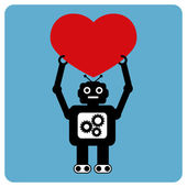Modern robot with happy heart relationship — Vector de stock