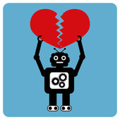 Modern robot with crushed heart — Stock Vector