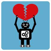 Moderno robot con corazón machacado — Vector de stock