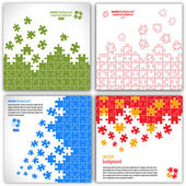 Puzzle pieces vector design set — Stock Vector