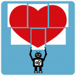 Stock Vector: Modern robot with jigsaw happy heart