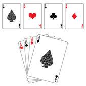 Poker card spades diamonds hearts clubs ace — Stock Vector