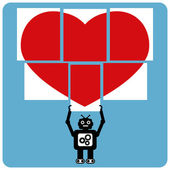 Modern robot with jigsaw happy heart — Stock vektor