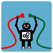 Modern robot with cable plug — Stock Vector