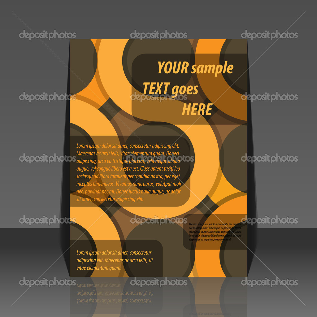 Abstract brown circle background flyer design  Stock Vector #6093632