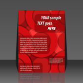 Abstract red circle background flyer design — Stock Vector
