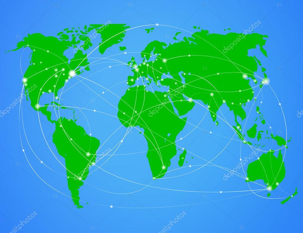 矢量插图旅行世界地图