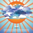 Abstract clouds and sun background vector — Imagen vectorial
