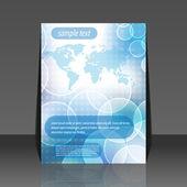 Abstract bubble world map vector flyer design — Stock Vector