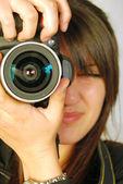 Fotografía y fotógrafo de mujer — Foto de Stock